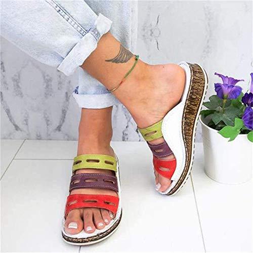 JFFFFWI Sandalias de Mula de cuña para Mujer Zapatos Holgados con Punta Abierta Zapatillas para Caminar con Punta Abierta Anchas de Verano Zuecos Antideslizantes Transpirables Zapatos de Playa, Blan