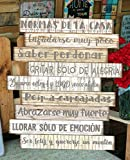 Cuadro de madera con frases y mensajes positivos e inspiradores para decorar el hogar y regalar'Normas de la casa'