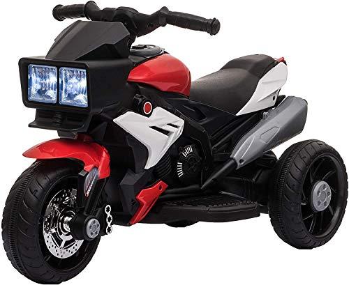 Motocicleta eléctrica de tres ruedas para niños, la velocidad máxima de la lámpara de la música, el triciclo de los niños con pedales,BlackRed