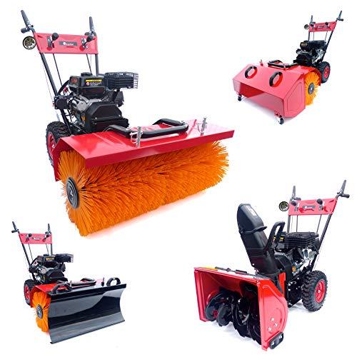 KnappWulf Kehrmaschine mit Motor XL Kehrbreite mit verschiedenen Aufsätzen 4in1 inklusive LED Lampe