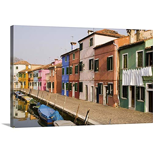 """GREATBIGCANVAS Italy, Burano, Colorful Houses line Canal Canvas Wall Art Print, 36""""x24""""x1.5"""""""