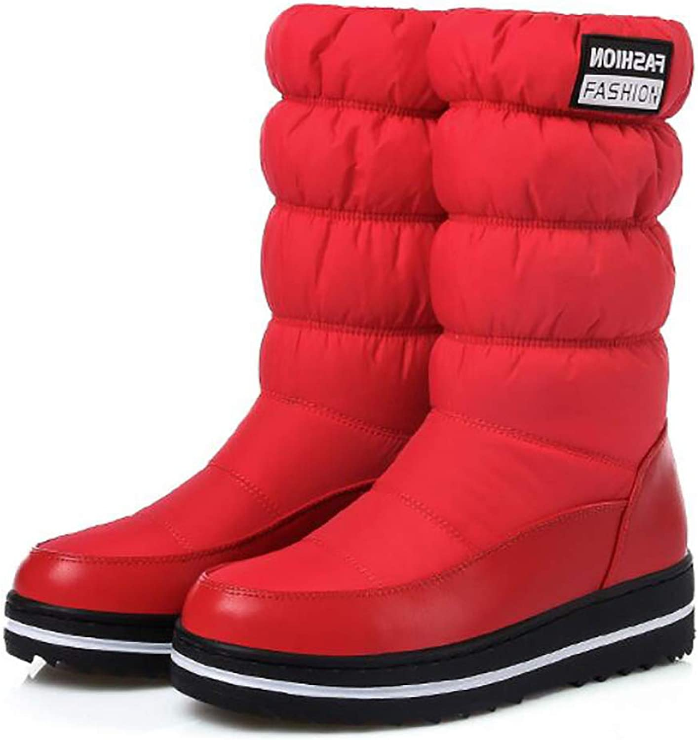 Women Snow Boots Warm Cotton Down shoes Waterproof Boots Wedge Platform Mid Calf Boots Winterboots,Red,43