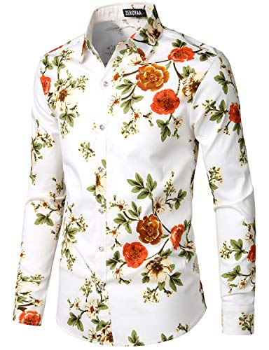 ZEROYAA Men's Hipster Printed Slim Fit Button Down Long Sleeve Streth Floral Shirt ZLCL04-111-White Medium
