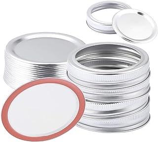 Foaynn 24 PCS Canning Lids Regular Mouth Mason Jar Lids/Bands Stainless Steel Lids,Split-Type Lids Leak Proof Secure Mason...
