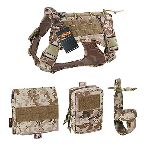 ZJDU Tactical Dog Molle Vest Harness, K9 Dog Harness Handle MOLLE Vest, with 2~3 Detachable Pouches,Outdoor Training Water-Resistant Military Patrol K9 Dog Harness,Aor1,XL