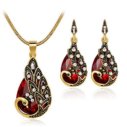 Miffen Collar con colgante de piedras preciosas de cristal púrpura de zafiro, collar de cristal precioso, cadena de gemas de corte fino, juego de pendientes (color: rojo)