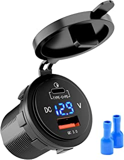 MICTUNING 36W Fast PD USB-C Car Charger with USB Quick Charge 3.0 + Type C Charger Socket w/LED Digital Voltmeter Compatib...