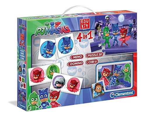 Clementoni - 18013 - Edukit 4 in 1 - PJ Masks, Superpigiamini - set di giochi (memo, domino, cubi, puzzle 30 pezzi) - gioco educativo 3 anni, gioco memory, puzzle bambini - Made in Italy
