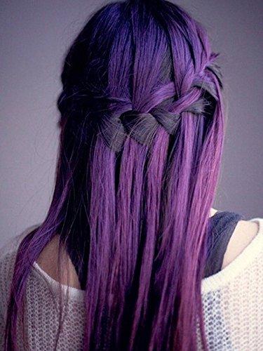 Lot de 20 extensions de cheveux adhésives - 50 g - 35,6 cm, 40,6 cm, 45,7 cm, 50,8 cm, 55,9 cm et 61 cm - 100 % cheveux humains lisses - Remy - Couleur violette