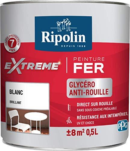 RIPOLIN - Peinture pour Fer Extérieur - Glycéro Antirouille - Sans sous-couche directe sur rouille - Résistante aux Intempéries, UV et Chocs - Brillant - 0,5L - Blanc