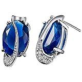 JewelleryClub 925 Silber Royal Blue Swarovski Elements Crystal Aquamarine Oval Ei geformte Ohrstecker für Damen