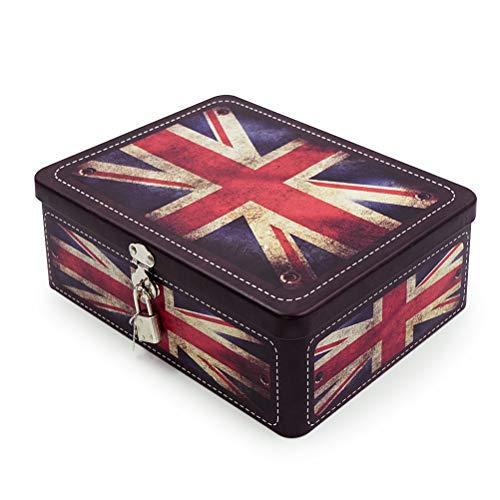 Aoneky Caja de Almacenaje con Tapa y Candado Llave - Caja Decorativa de Almacenaje de Metal Hojalata, Caja Metálica con Dibujo de Bandera del Reino Unido, Decoración de Hogar Casa, Estilo Retro