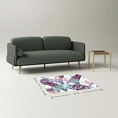 EGGDIOQ Doormats Tropical Flower Leaves Custom Print Bathroom Mat Waterproof Fabric Kitchen Entrance Rug, 23.6 x 15.7in