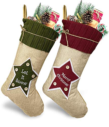 WUJOMZ Set of 2 Burlap Christmas Stockings, 18 Inches Large Personalized Christmas Stockings with Star Pattern, Family Christmas Stockings for Family Holiday Christmas Party Decorations