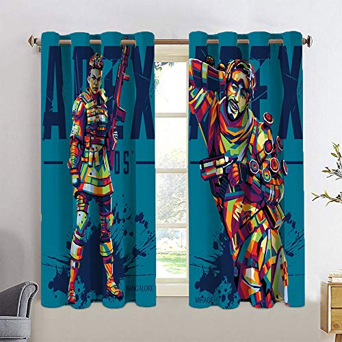 Cortina de armario Wpap Art Game Gibraltar Leyendas leyenda espejismo cortina de ventana tela para habitación de niños