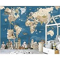 Iusasdz カスタム壁紙3D壁画レトロノスタルジックな世界地図テレビ背景壁子供部屋シルククロス3D壁紙-200X140Cm