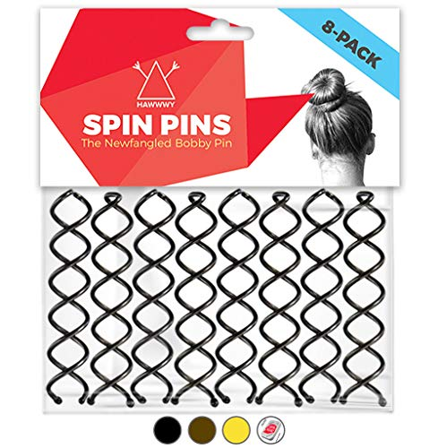 Hawwwy Spiral Bobby Pins 8 Pack Spin Pins Easy amp Fast Bun Maker Twist Hair Pins for Women Kids Updo Hair Accessories Messy Bun Tool Perfect Small Bun Bobbypins Bobbie Fashion Black 2 Inches