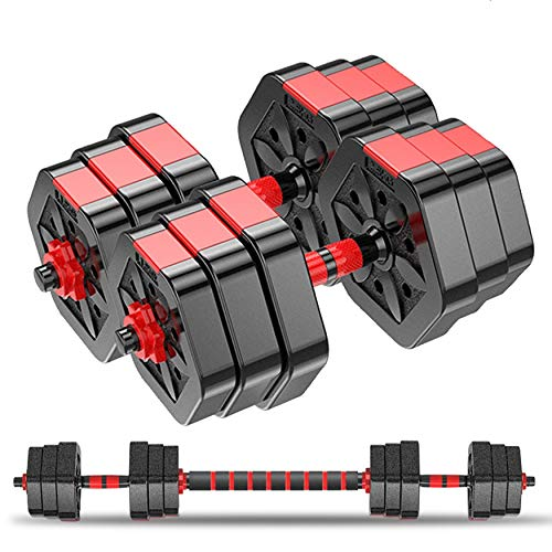 Weights Dumbbells SetAdjustable Dumbbells for Men and WomenWeights Dumbbell Set for LiftingBarbell Weight Equipment Set with Connecting RodPair of 44lbs Black/ Red with 20#039#039 Connecting Rod