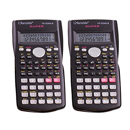 Stonges Engineering Wissenschaftliche Taschenrechner, 2-zeiliges Display, multifunktionaler Taschenrechner für Schüler und Lehrer, 2 Stück, schwarz