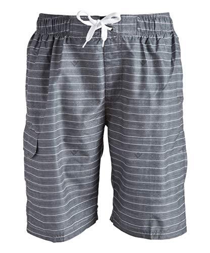 Kanu Surf Men's Echelon Swim Trunks (Regular & Extended Sizes), Line Up Charcoal, 3X