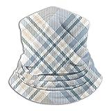Uosliks Cuello Bufanda Cuadros Patrón de Cuadros Beige Blanco Polvoriento 26cm X 30cm Headwear Head Wrap Tube Multi Funcional