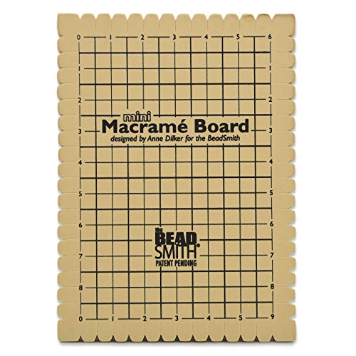 The Beadsmith Mini Macrame Board, 7.5 x 10.5 inches, 0.5 inch thick foam, 6 x 9' grid for measuring, bracelet project with instructions included, create macrame and knotting creations