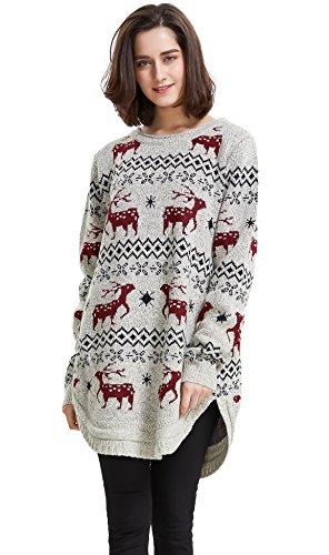 shineflow Dam ren snöflinga midi jul pullover tröja jumper