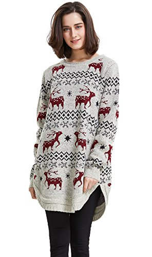 Shineflow Women's Reindeer Snowflake Midi Christmas Pullover Sweater Jumper (Beige, One Size)