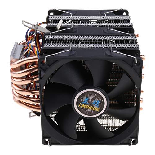 YOURPAI Ventilador de refrigeración, 6 disipador de calor de doble torre Heatpipe Soporte 1/2/3 ventiladores 4PIN CPU Cooler sin luz