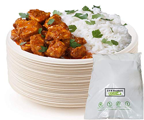 Super Strong Disposable Paper Plates 9 inch 50 Pack Biodegradable Compostable Bagasse Plates with Eco-Friendly Packaging Perfect for Picnics, BBQ and Parties Plates (Pack of 50)