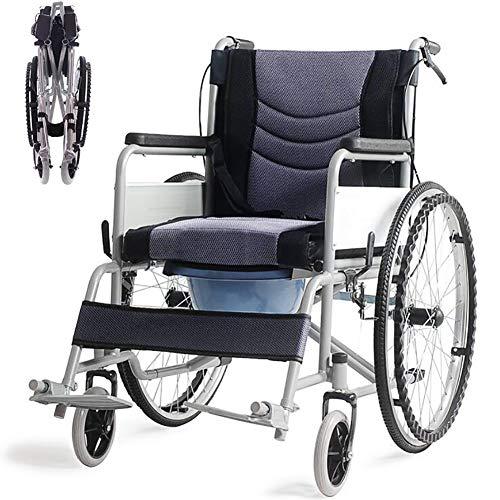 AINIDEMA lichtgewicht aluminium vouwbare zelf-Propel rolstoel met handremmen en snelle release achterwielen met een Toilet, 17