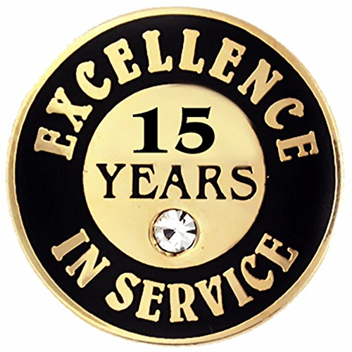 PinMart Gold Plated Excellence in Service 15 Year Award Lapel Pin