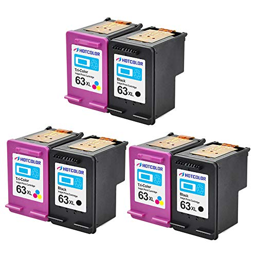 HOTCOLOR 3BK 3CL 63XL Remanufactured Ink Cartridge Replacement for Hewlett Packard HP 63XL for DeskJet 1110 1112 2130 3630 3632 Envy 4520 OfficeJet 3830 4650-6 Packs (3 Black, 3 Color)