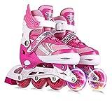 skates Patines En Linea Ajustable Patines en línea Patines Profesional for niños con protección incluida 4 Ruedas Patines (Color : Pink, Size : M(33-37))