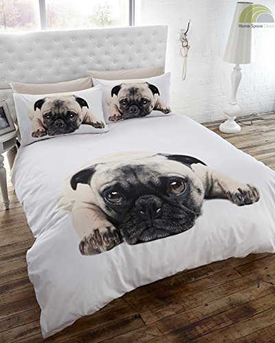 Pug Dog Quilt Duvet Cover and Pillowcases Set, White, Double Bed Size, Pooch, Puppy, Polyester-Cotton