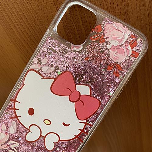 Schutzhülle für Apple iPhone 11 (15,5 cm) – Pink Hello Kitty schwimmende Flüssigkeit Glitzer Herzen TPU Gummi Wasserfall Cover (iPhone 11)