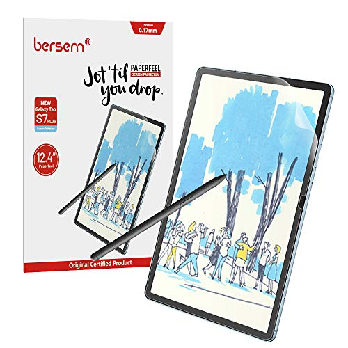 BERSEM[2 PACK]Paperfeel Screen Protector for Samsung Galaxy Tab S7 Plus Screen Protector 12.4 inch, Paperfeel Tab S7 Plus Matte Screen Protector Anti Glare with Easy Installation Kit Write and Draw Like on Paper