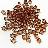 XKMY Juego de dados 100 piezas por juego de 8 mm acrílico transparente gris cuadrado esquina colorido cristal dados ajedrez pieza ángulo recto tamiz cubo para juego de rompecabezas (color marrón
