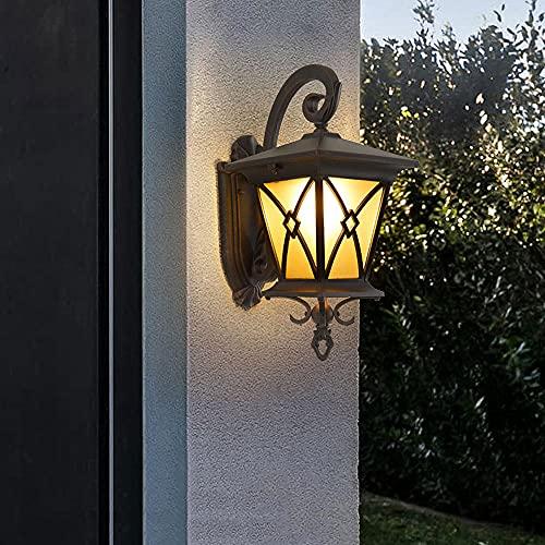 NAMFHZW Pantalla De Vidrio Antiguo Impermeable Luz De Porche Iluminación Exterior Linterna De Pared E27 Lámpara De Seguridad Externa IP54 Accesorios De Iluminación Antioxidantes Montaje En Pared Patio