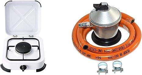 Bcalpe BG01B Cocina gas 1 fuego, Blanco, 28.5x31x10.5 cm + S&M 321771 Regulador de Gas Butano Goma M + 2 Abraz, Gris/Naranja, 1,5 metros de tubo