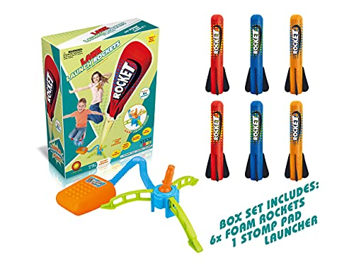 Step Powered Stomp Rockets- 6 Amazing Planes with 360-degree Rocket Launcher -Great Birthday Gifts for Boys & Girls- Ages 3 Years (4,5,6) & Above- STEM Learning Fun-Play in Backyards and Parks