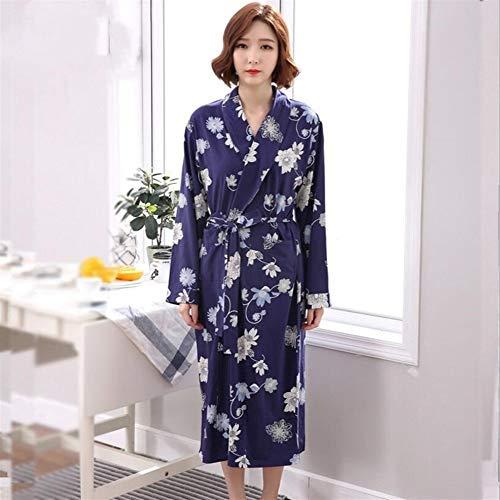Pasen Vrouwen Meisjes Lang-Sleeved Bloemen Patroon Badjas Katoen Nachtjapon Pyjama Vest Eenvoudige Stijl Badjas Donkerblauw (Kleur: Donkerblauw Maat :) Thuis Mode Comfortabele pyjama