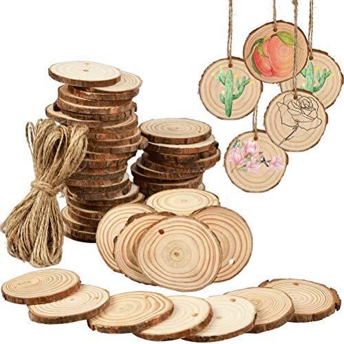 FOCCTS 60 pezzi fette di legno di cerchi naturali 3 dimensioni (3-6 cm) con corda di canapa da 15 m adatta per artigianato, scrapbooking, ornamenti, progetti personalizzati