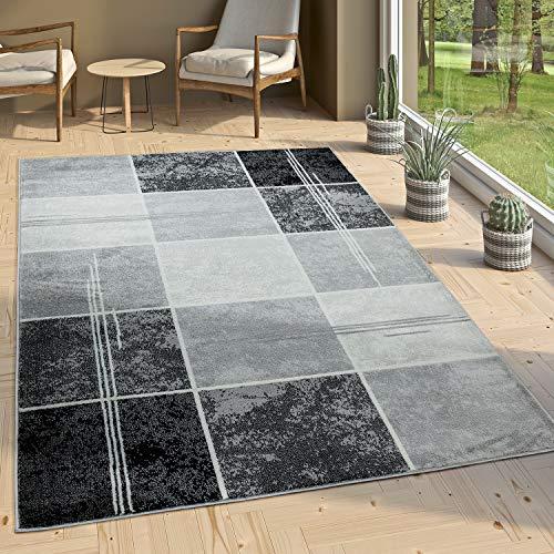 Paco Home Alfombra De Diseño - A Cuadros Efecto Mármol - Jaspeado Gris Negro Blanco, tamaño:200x290 cm