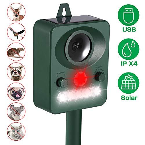 KNMY Katzenschreck Ultraschall Solar, 5 Modus Einstellbar Ultraschall Abwehr Tierabwehr, Draussen Wasserdicht Elektronische Abschreckung Hund Katze