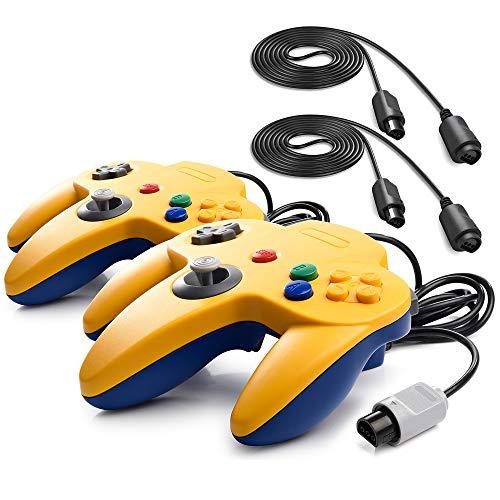 miadore 2 Set Retro 64-Bit N64 Controller Gamepad Joystick für N64 Konsole N 64 System und 6ft / 1.8m N64 Verlängerungskabel Kabel für N64 Controller 64 Spielekonsole