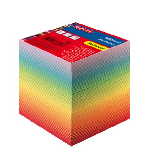 Herlitz 10901973 Notizklotz 9x9x8,5cm 800 Blatt rainbow verschiedenfarbig geschichtet