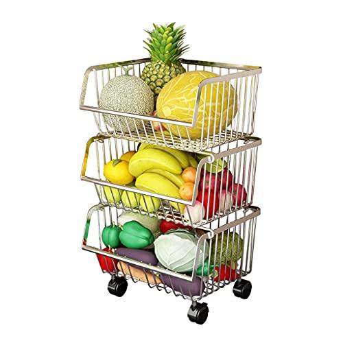Almacenamiento Rack Cocina Almacenamiento Racks Piso Multi-Capa Fruta y Verduras Cesta Suministros Electrodomésticos Pequeño Gran Departamento Toy Cesta de almacenamiento Cesta Artefacto LOLDF1