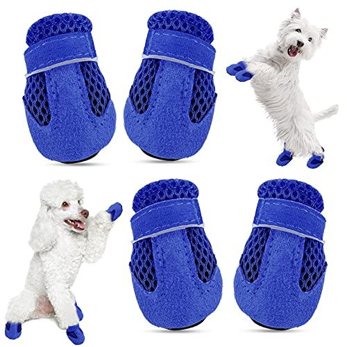 KOESON Mini Dog Shoes, Breathable Mesh Dog Booties for Hot Pavement Summer Pet Sandals, Soft & Lightweight Puppy Paw Protector with Adjustable Strap for Small Breeds Blue L