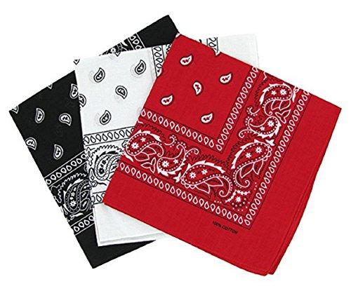 PURECITY© Bandana Original Paisley Motif Cachemire Pur Coton Foulard Qualité Supérieure Vendu par Lot - 55cm x 55 cm - Nouvelle Collection (1# Noir, Blanc, Rouge)
